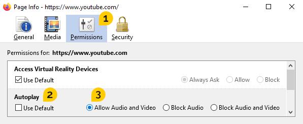 The Site Info window in Firefox